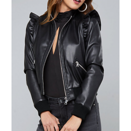 Womens Shoulder Ruffled Black Leather Bomber Jacket