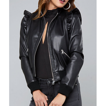 ab5989121d9 Womens Shoulder Ruffled Black Leather Bomber Jacket