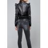 Womens Shoulder Ruffled Black Leather Bomber Jacket