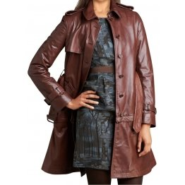 Womens Shoulder Straps Long Brown Leather Trench Coat