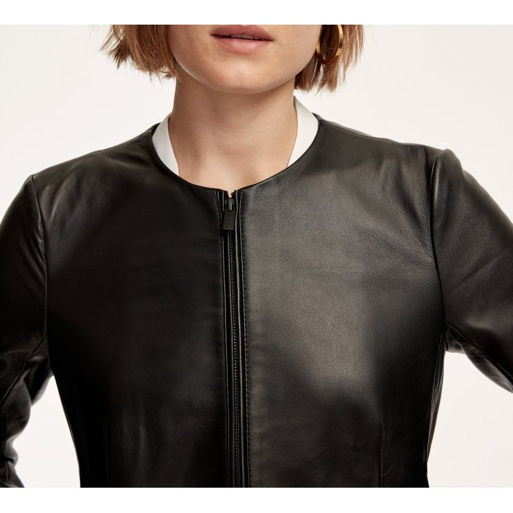 Womens Simple Front Zippered Black Leather Biker Jacket