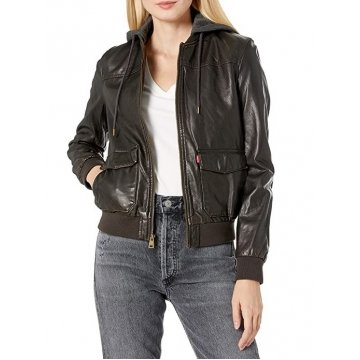 Womens Simple Two Pocket Black Leather Hooded Bomber Jacket