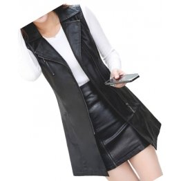 Womens Sleeveless Real Lambskin Black Long Leather Trench Coat