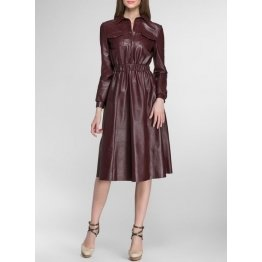 Womens Slim Fit Pure Burgundy Leather Midi Dress