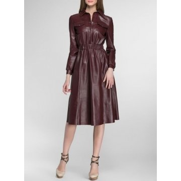 Womens Slim Fit Pure Maroon Leather Midi Dress