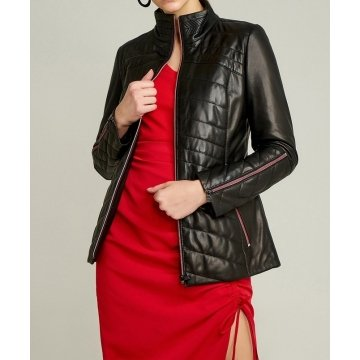 Womens Sporty Look Waist Fit Black Leather Jacket