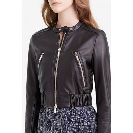 Womens Spring Fashion Soft Black Leather Short Bomber Jacket