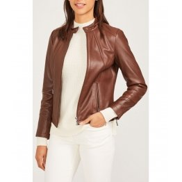 Womens Stand Collar Long Sleeves Brown Leather Jacket