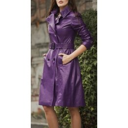 Womens Street Style Real Purple Leather Trench Coat