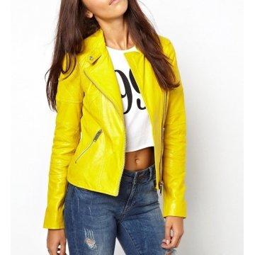 Womens Stylish Elegant Design Real Yellow Biker Leather Jacket