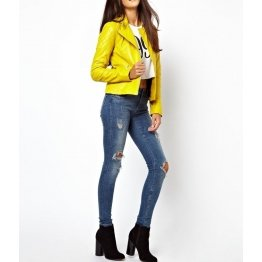 Womens Stylish Elegant Design Real Yellow Biker Leather Jacket