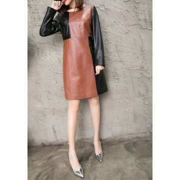 Womens Summer Fashion Genuine Leather Straight Dress