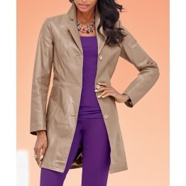 Womens Three Button Real Genuine Leather Coat