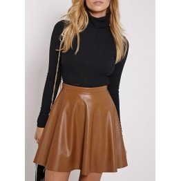Womens Ultra Feminine Soft Brown Leather Skater Skirt