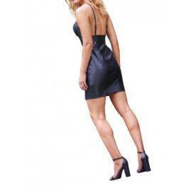 Womens V-neckline Black Leather Bodycon Mini Dress