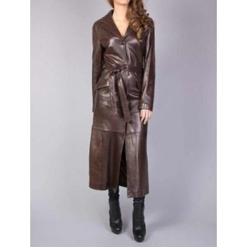 Womens Vintage Fashion Brown Lambskin Leather Celebrity Coat Outfit