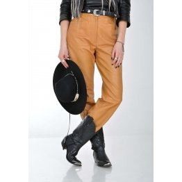 Womens Vintage Real Leather High Waist Trousers Pant