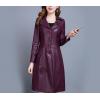 Womens Windbreaker Medium length Purple Leather Trench Coat
