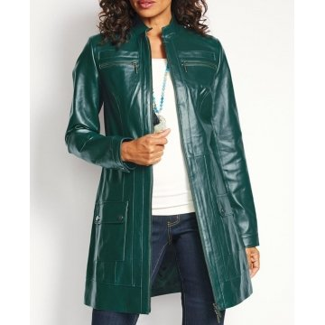 Womens Zip Front Genuine Green Leather Coat