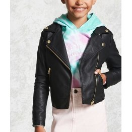 Zipper Front Black Leather Moto Jacket For Girl Kid