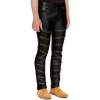 Zippered Front Pure Black Leather Skinny Pants for Men